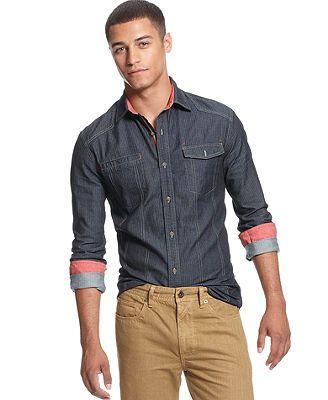 Sean john big tall shirt long sleeve herringbone denim for Sean john t shirts for mens
