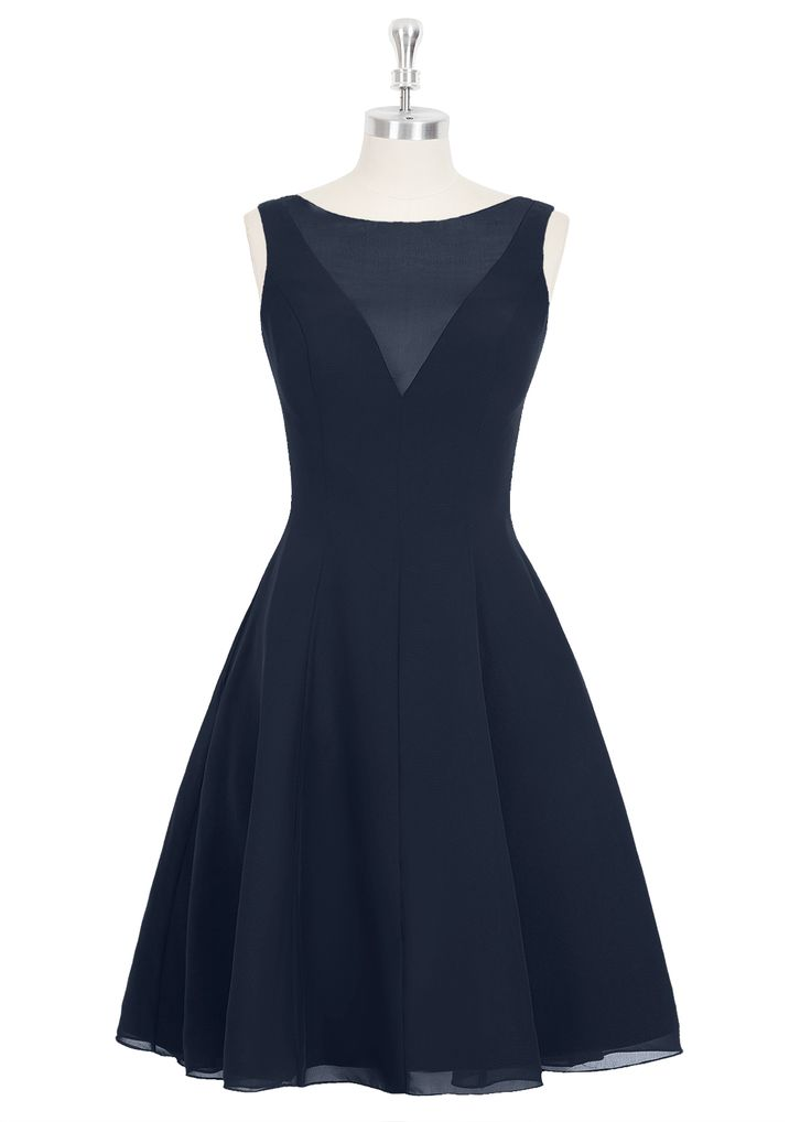 The Azazie Kaya is a chic and edgy bridesmaid dress that's just perfect for modern weddings. It features a deep illusion v-neckline, sleeveless design, body-con bodice, and a flared knee-length skirt. Available in 30+ colors, seen here in Dark Navy.