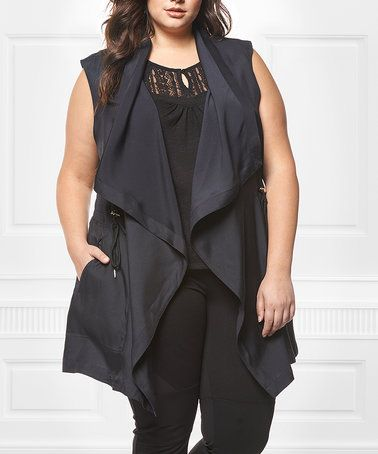 Look at this #zulilyfind! Black Flyaway Open Vest - Plus #zulilyfinds