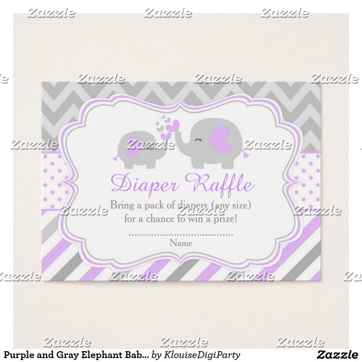 Purple and Gray Elephant Baby Shower Diaper Raffle Business Card
