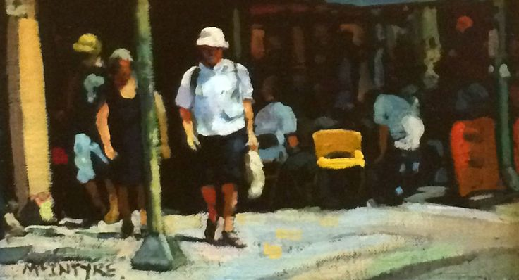 Joe McIntyre, Study, Summer in the City, Shoppers, Melbourne, Oils 5x8.5 l Scottish Contemporary Art