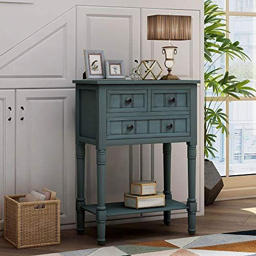 New Narrow Console Table Baysitone Sofa Table 3 Storage Drawers Bottom Shelf Entryway Wood Side Tables Rustic Entryway Table Living Room Easy Assembly N In 2020 Narrow Console Table Side Table Wood