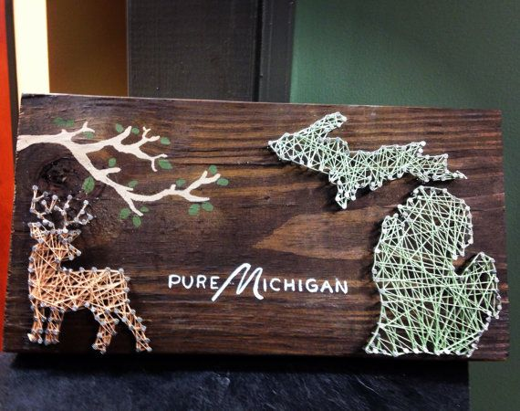 Michigan state string art, string art, state wall art