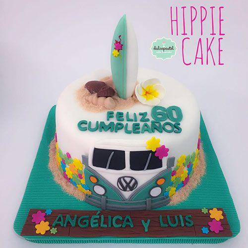 Torta Hippie 60´s Medellín by Dulcepastel.com, tortas tempaticas en Medellín, Hippie Cake, tortas temáticas en Colombia