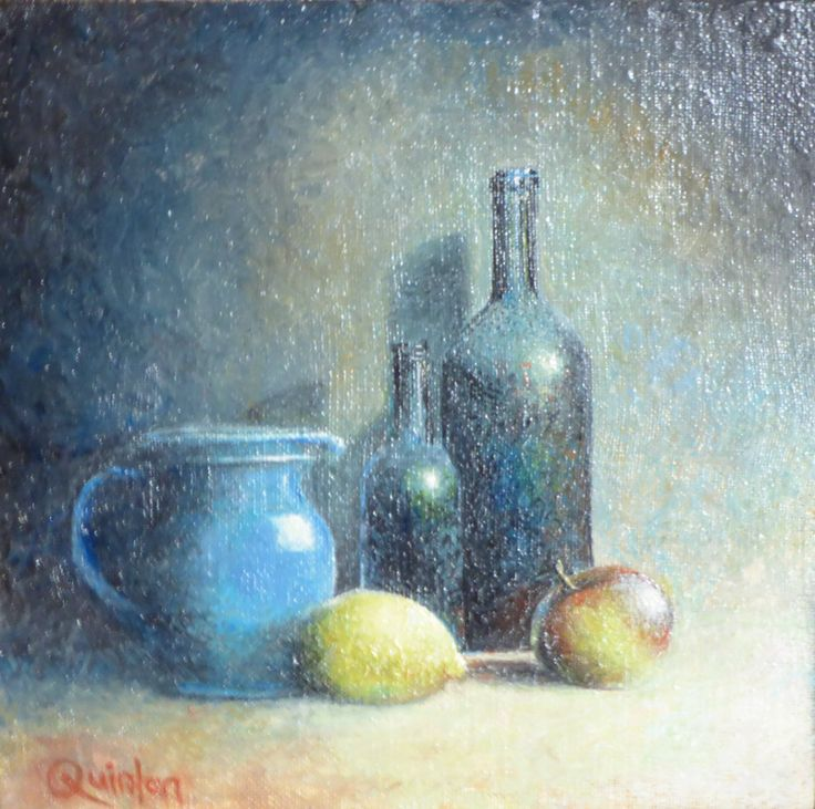 """Original oil painting - 8"""" x 8""""  """"Bottles and Fruit"""" An oil painting by Irish still life artist Chris Quinlan. An oil painting on linen on board of two old bottles a jug and fruit. Completed Mar 2018"""