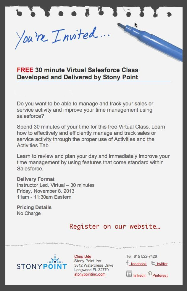 Stony Point, Inc Free 30 minutes Virtual Class on salesforce - proper minutes format