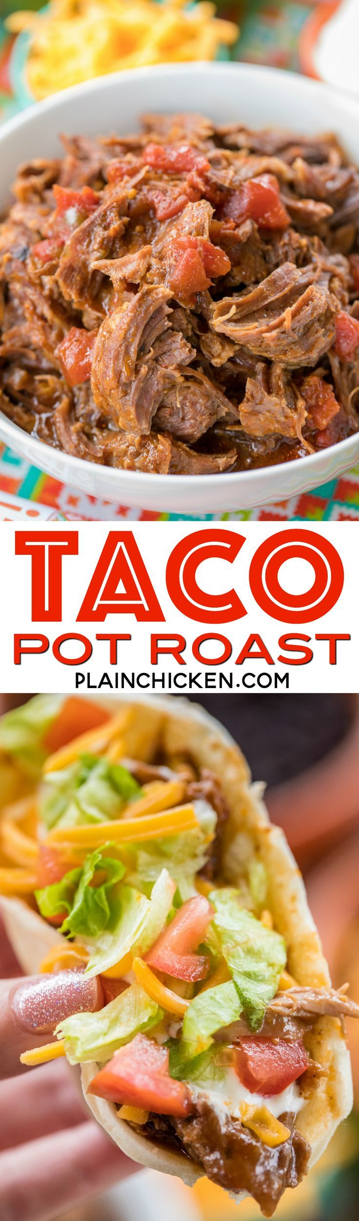 Slow Cooker Taco Pot Roast - shredded beef tacos. Only 5 ingredients - pot roast, au jus mix, taco seasoning, tomato juice and diced tomatoes and green chiles. Can serve shredded pot roast over rice with beans for a burrito bowl or in tortilla for shredde