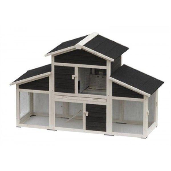 Op zoek naar een ruim, luxueus konijnenhok? Dan is dit hok precies wat je zoekt! Konijnenhok Laura heeft een zwart/wit design en heeft een vorm van een vrijstaand huis. Het konijnenhok heeft maar liefst twee verdiepingen. De onderste verdieping heeft een ren over de gehele breedte van het hok. Dit zorgt voor veel bewegingsvrijheid. Middels het trapje, met horizontale balken voor extra grip, kan jouw huisdier zicht terugtrekken in het nachthok.