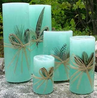 #Handmade #Candles - aqua blue with feathers  http://www.mycraftkingdom.com