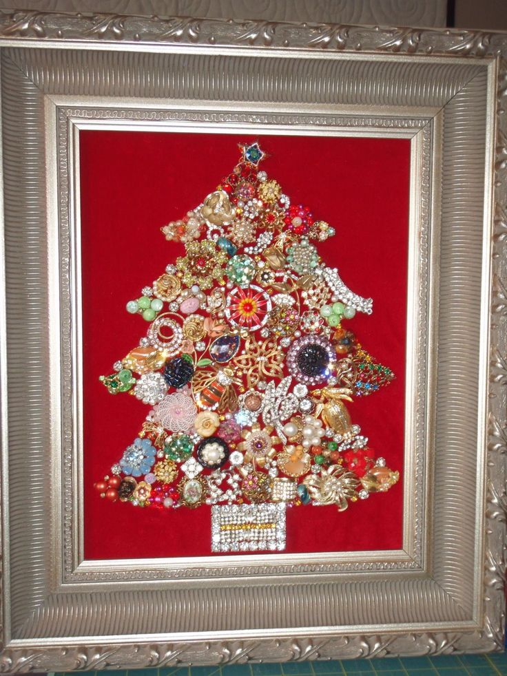DIY Jeweled Christmas Tree | noelle o designs - made from old jewelery and trinkets.