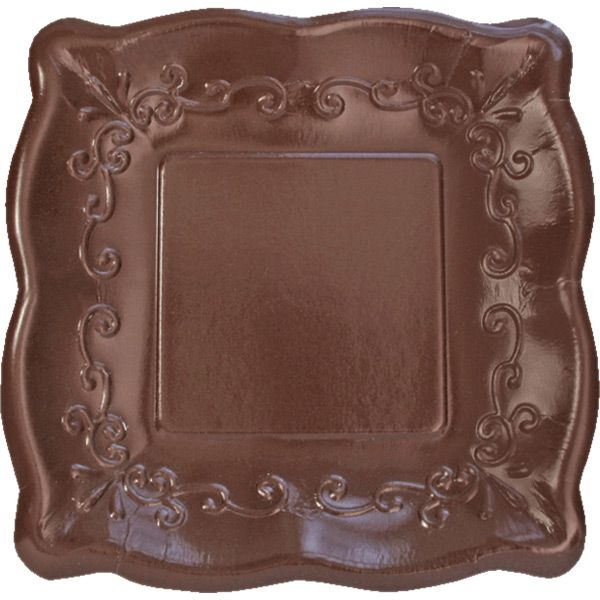This wonderful trendy, chocolate brown plate looks delicious and is the perfect tone to coordinate with numerous printed ensembles and other patterned tableware products. Each square Cocoa Bean Pottery Banquet Plate measures 10 inches across and features a delightful embossed border reminiscent of designs found on Italian pottery pieces. A gently scalloped edge and a high gloss finish make this the ideal plate to use at stylish affairs. Set the plates out for serving main dishes or bigger…