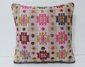 16x16 white decorative pillow burlap kilim pillow cream throw pillow pink pillow cover colorful pillow case shabby chic cushion cover 25664