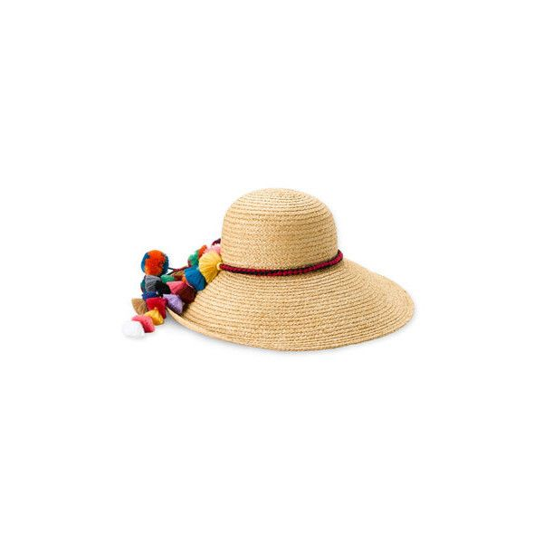 Juicy Couture 'Pompom Tassels' Straw Sun Hat ($66) found on Polyvore