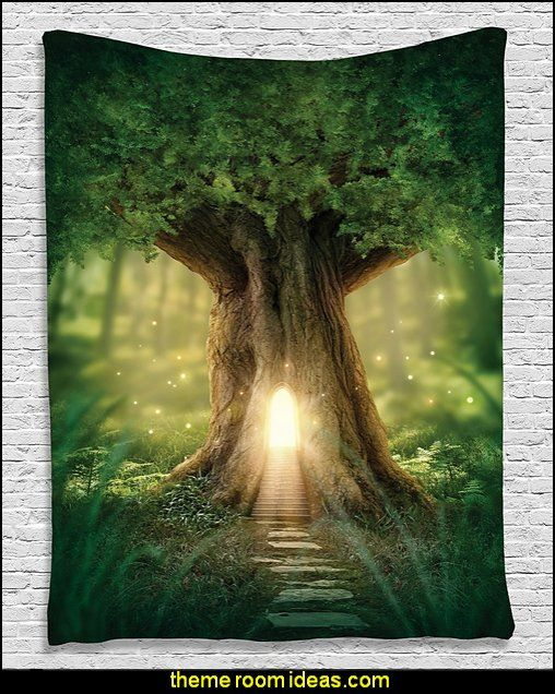 mystic fairy tree of life enchanted forest mystical lights digital printed tapestry wall hanging wall tapestry living room bedroom dorm decor green yellow