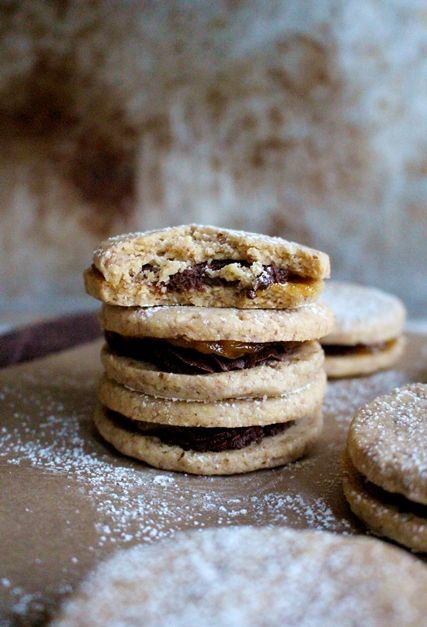 The Ischler, a delicious Austrian cookie with dark chocolate ganache and apricot levkar filling. It does take time and patience to make, but oh so yummy!!! Everyone who's tried it loves it. The recipe is from The Baking Bible.