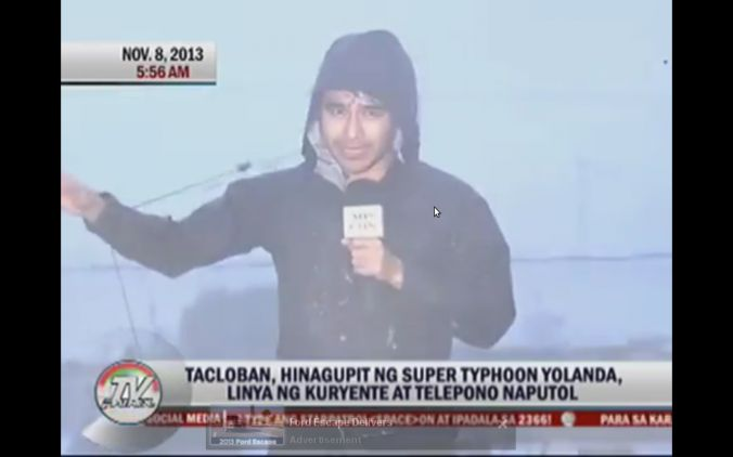 A screenshot of ABS-CBN's YouTube shows Atom Araullo in Tacloban City.