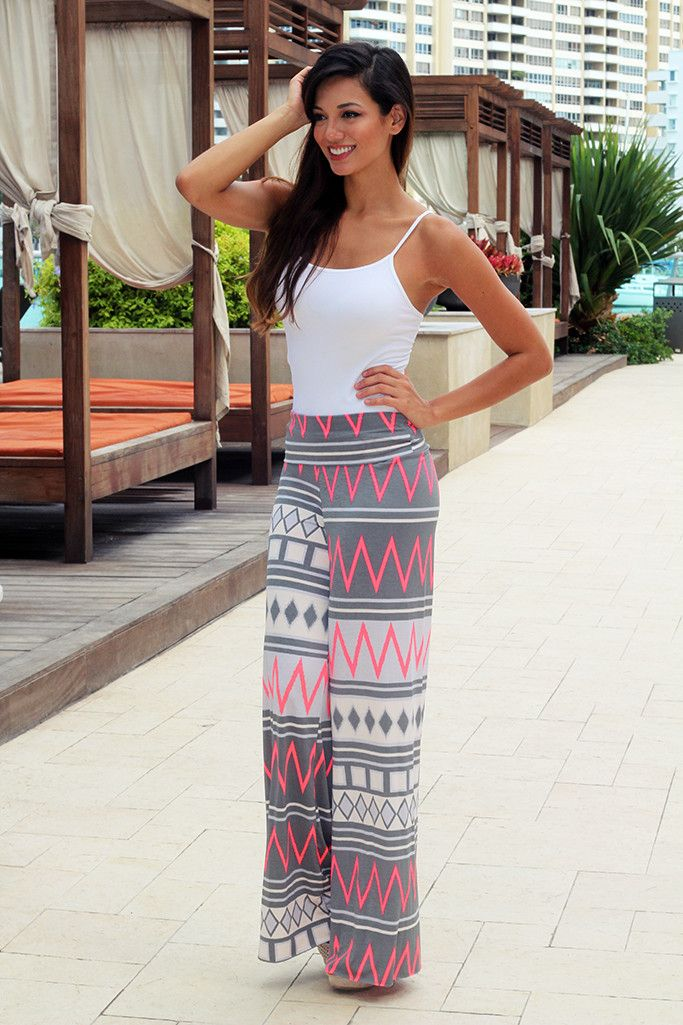 Neon Pink and Gray Chevron Pants – Saved by the Dress