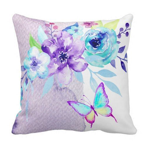 watercolor butterfly flower lavender lilac cushion pillow Using colors and creative designs, one can create a perfect ambiance for their home. Lavender is a great color; it is a pale shade of violet. It is a calm soothing color applicable at almost any location of your home. Lavender Throw pillows on the other hand are an attractive accessory. They are mostly used to decorate the living room and the bedroom