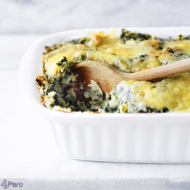 Kale and cheese casserole, a healthy vegetarian recipe