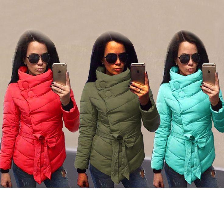 Вниз Пальто 2017 Женщин Зимы Пуховик Женские Ветровки Случайные Куртки Высокий Воротник Пояса Пальто Женщин Парка Ватные Плюс Размер