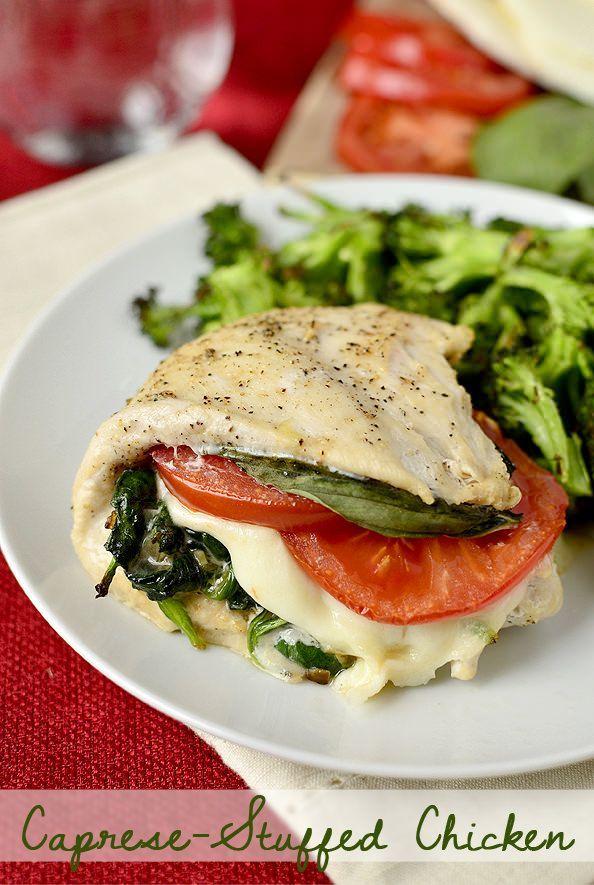 Caprese Stuffed Chicken | iowagirleats.com