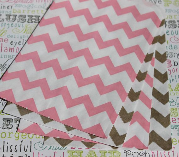 100 Gold and Blush Pink Chevron Candy Bags by BakersBlingShop, $14.00