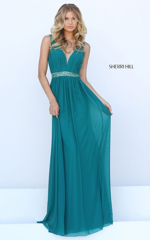 Fitted Teal Sherri Hill 50760 V Neck Long Prom Dress