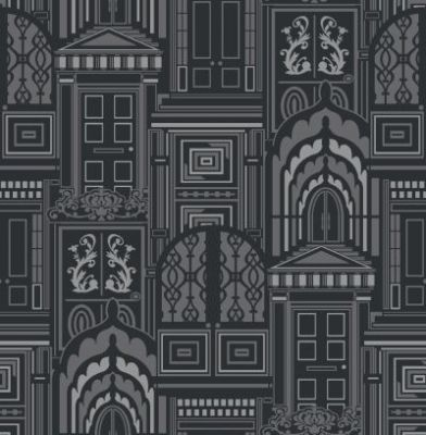 Interresting wallpaper: Opening Doors Liquorice (950804) - Sophie Conran Wallpapers - A beautiful true flock design with ornate doors on a metallic background.  Shown in the black colourway. Please request sample for true colour match. Paste the wall.