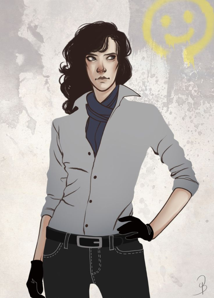 """Gherlock by sash-kash. """"An attempt at a girl-ier/casual Sherly because everytime I draw her it looks like Benny in drag."""" Wow, I think this is my favorite female Sherlock interpretation yet! Very hot but still maintains his looks."""