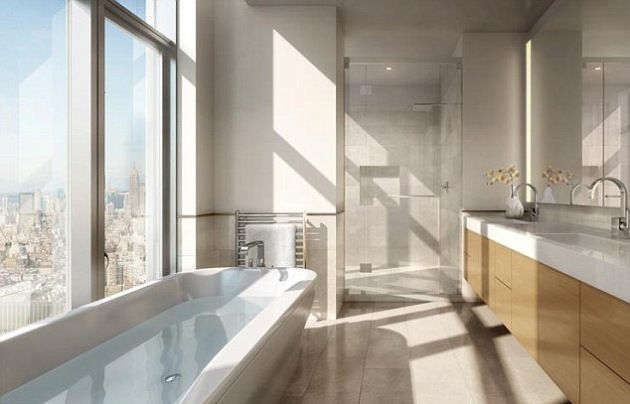 New York Penthouse Bathroom, imagine soaking in that bath, and soaking in that view