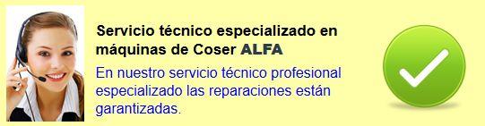 Reparación máquinas de coser Alfa. Servicio en asistecnic. Servicio técnico máquinas de coser Alfa.