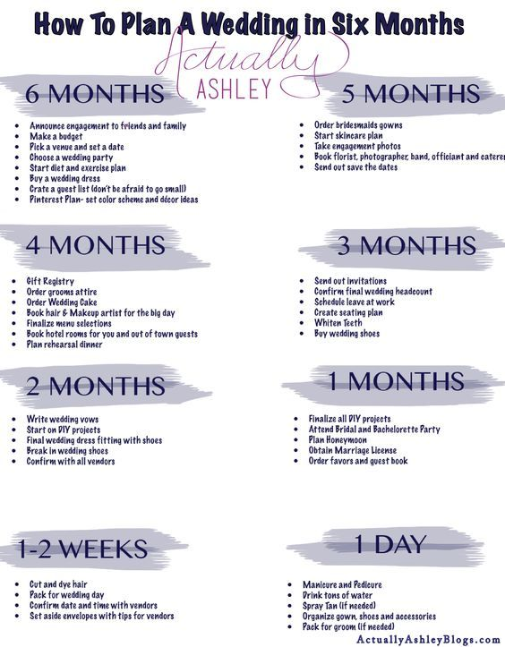 6 Month Wedding Planning Timeline: