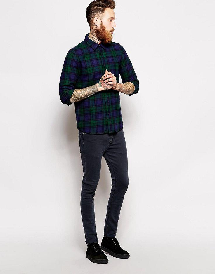 ブラックウォッチチェックシャツ,メンズコーデ