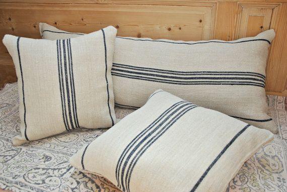 Authentic Grain Sack Body Pillow Sham Navy Blue by Medreana