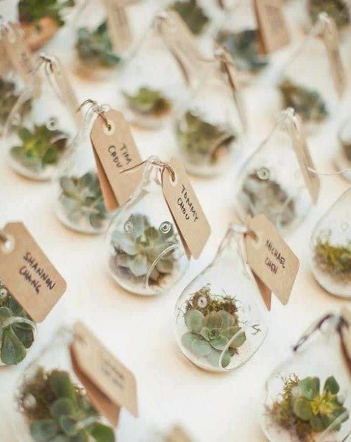 Step up your boho-themed wedding with these hanging succulent terrarium wedding favors.
