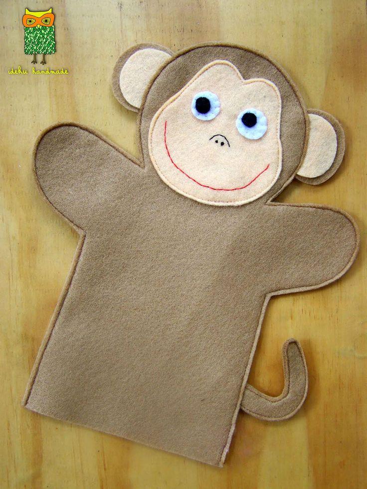 MONKEY: Felt+Monkey+Pattern | ideku handmade: hand puppets are coming!!!