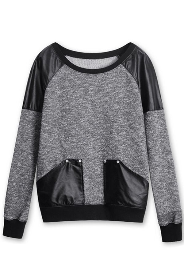 Faux Leather Patch Punk Style Sweatshirt