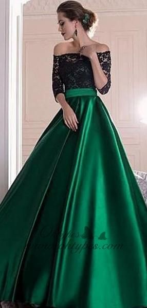 Black Lace Top Off-the-shoulder Half Sleeves Green Satin A-line Prom Dresses, TYP1449 Black Lace Top Off-the-shoulder Half Sleeves Green Satin A-line Prom Dresses, TYP1449