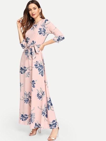 7346eab3db Floral Print Self Tie Waist Maxi Dress [dress180824255] - $40.00 :  moonbaye.com