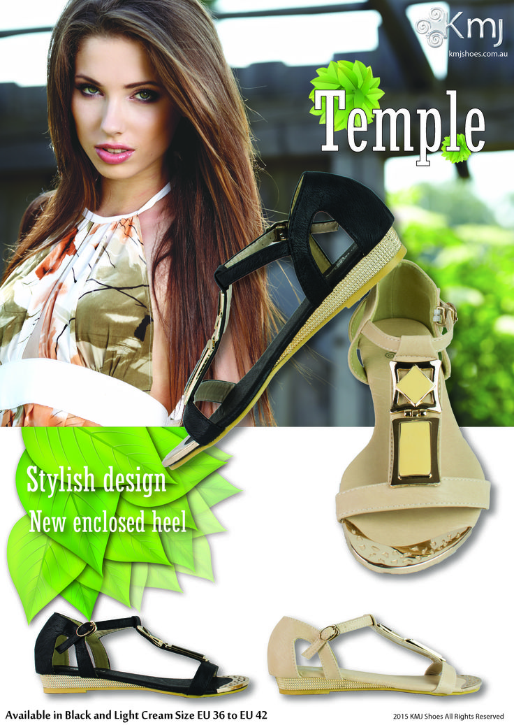 The new look Temple fashion sandal has arrived at KMJ Shoes. Ready to wear style in sizes EU36 - EU42.  Ready for spring/summer 2015 at www.kmjshoes.com.au