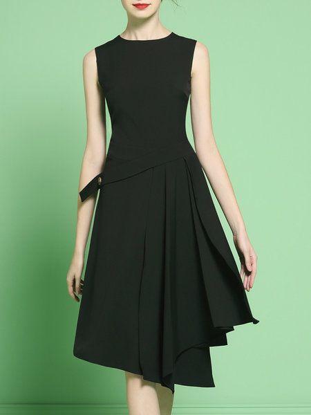 Shop Midi Dresses - Black Plain Elegant Swing Polyester Midi Dress online. Discover unique designers fashion at StyleWe.com.