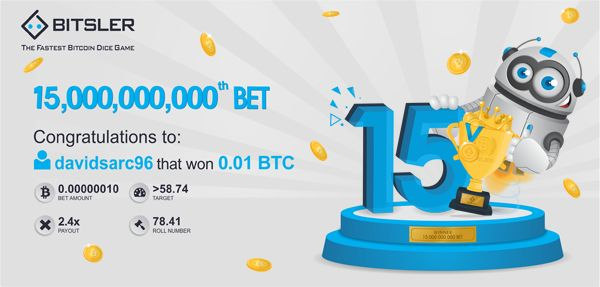 User davidsarc96 rolled the 15 billionth bet and won 0.01 Ƀitcoin! There are still 40 prizes of 0.013 Bitcoin up for grabs!