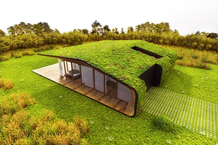 Камуфлажна къща със зелен покрив е почти невидима за минувачите от улицата за които не е лесно да разберат че има сграда сред ливадите