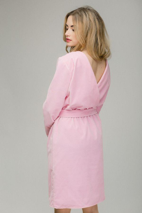 Платье с вырезом на спине, розовый бархат