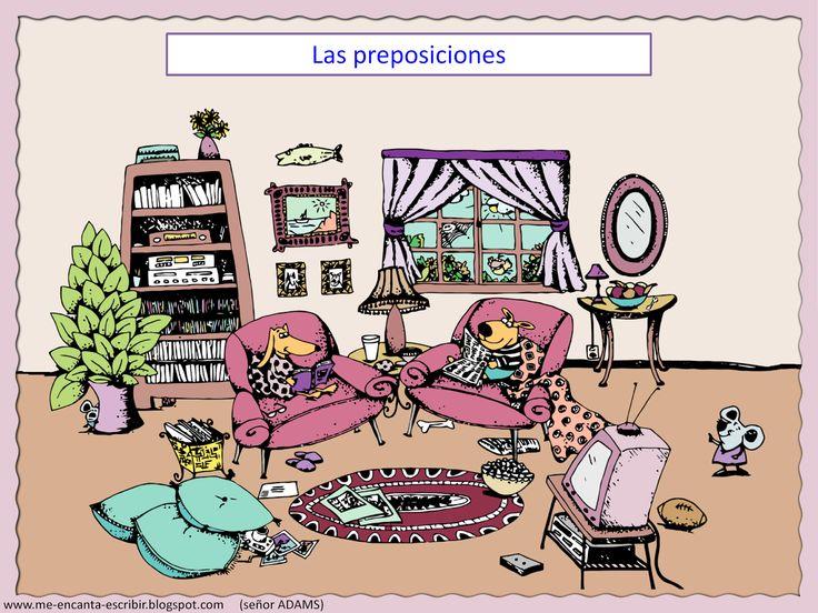 II, 7 - Las preposiciones de lugar en la sala de la casa. (ejercicio). Click on pic. for sentences to fill in blanks with prepositions.