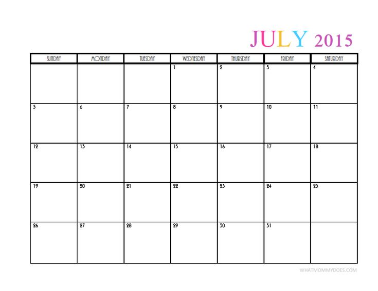 Pretty blank July 2015 monthly calendar - this free printable template has a clean design and cute color scheme. Also grab August thru December!