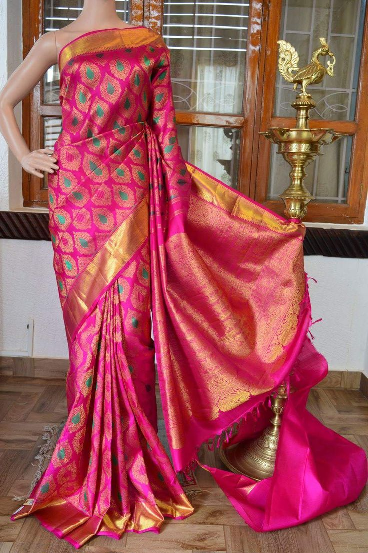 Pink pure silk pure zari kanchivaram silk saree with zari butta and green thread design on full body with zari rich pallu. Code: J0717KA012004 Cost: 16000 Mail: vasthramsilks@gmail.com Whats app: +91 7019277192 #purekanchipuramsilksaree #softsilk #kanjivaram