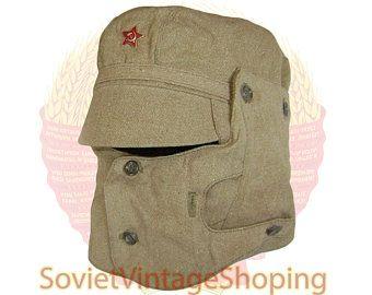 Vintage Original Winter military cap   Soviet Russian Army Soldier Winter Hat Medium-56cm