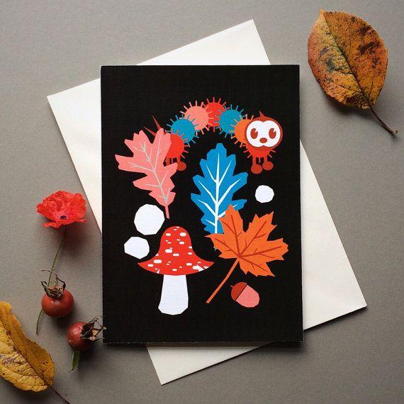 Caterpillar greeting card Blank card Birthday card by dandiifluff