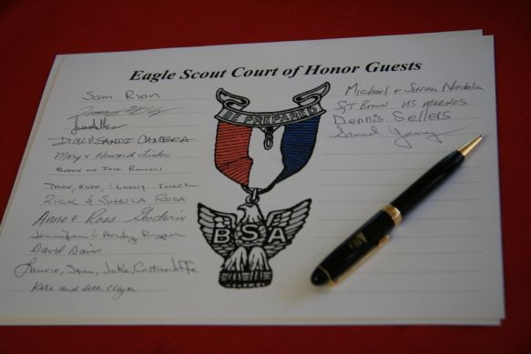 Eagle Scout Court of Honor Guests.... could have something like this on each boys table so guest can write little notes to them  Really like this idea